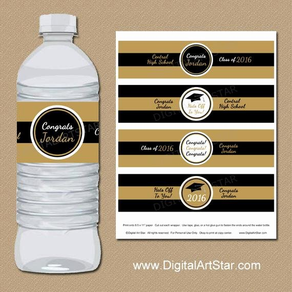 Water Bottle Wrapper Template Fresh Personalized Graduation Water Bottle Wrappers by