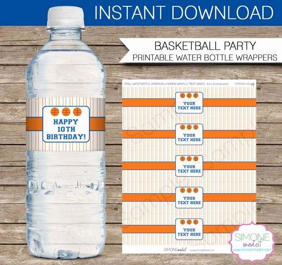 Water Bottle Wrapper Template Inspirational Basketball Party Water Bottle Labels or Wrappers orange