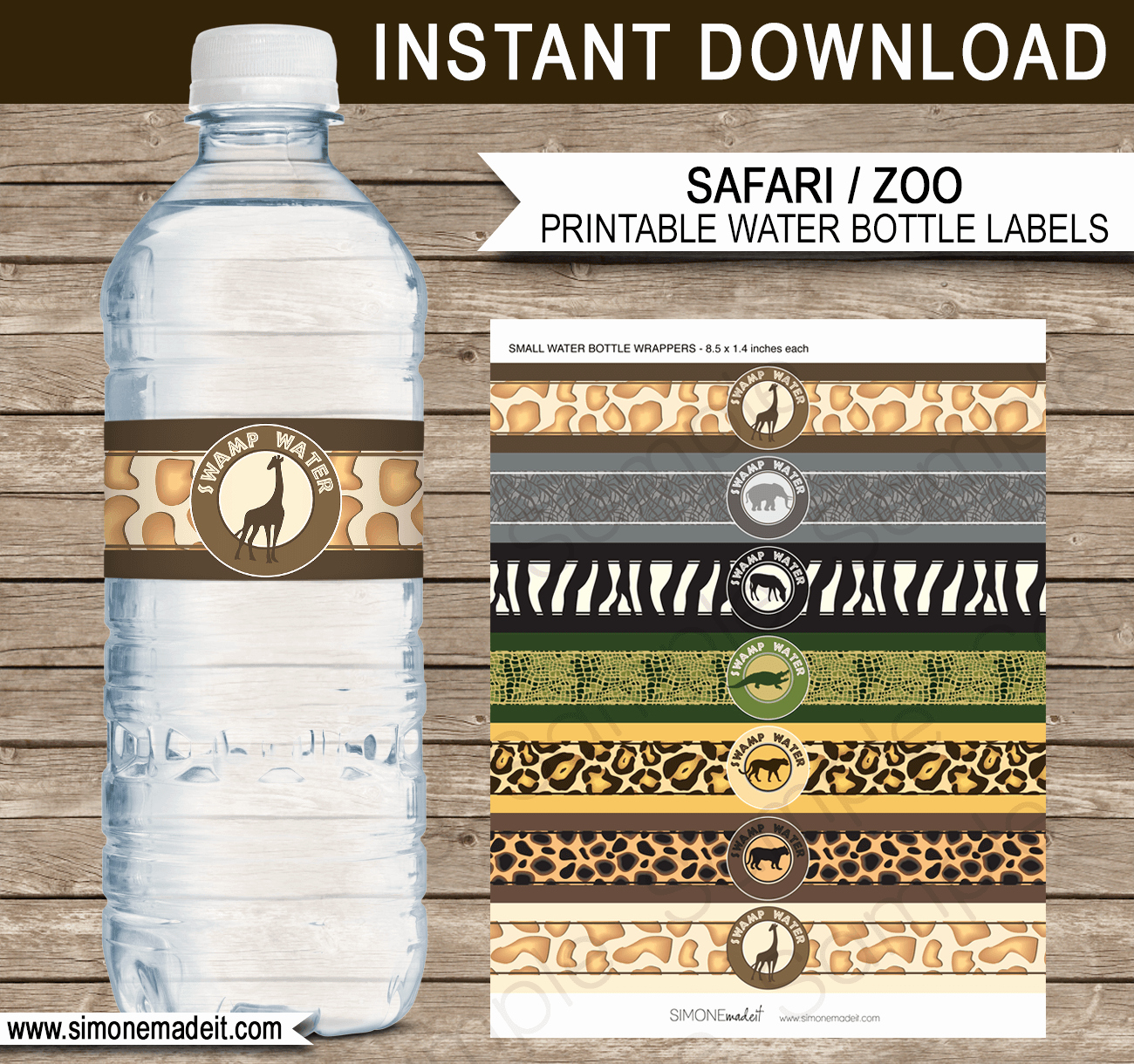 Water Bottle Wrapper Template Inspirational Safari Party Water Bottle Labels Template