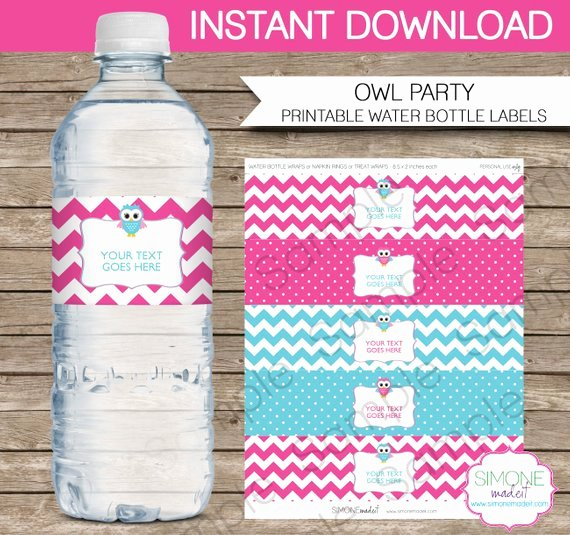 Water Bottle Wrapper Template Luxury Owl Party Water Bottle Labels or Wrappers In Pink