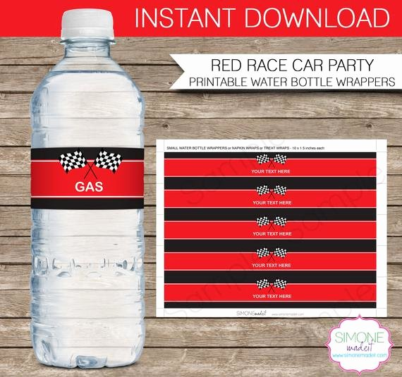 Water Bottle Wrapper Template Luxury Race Car Party Water Bottle Labels or Wrappers Instant