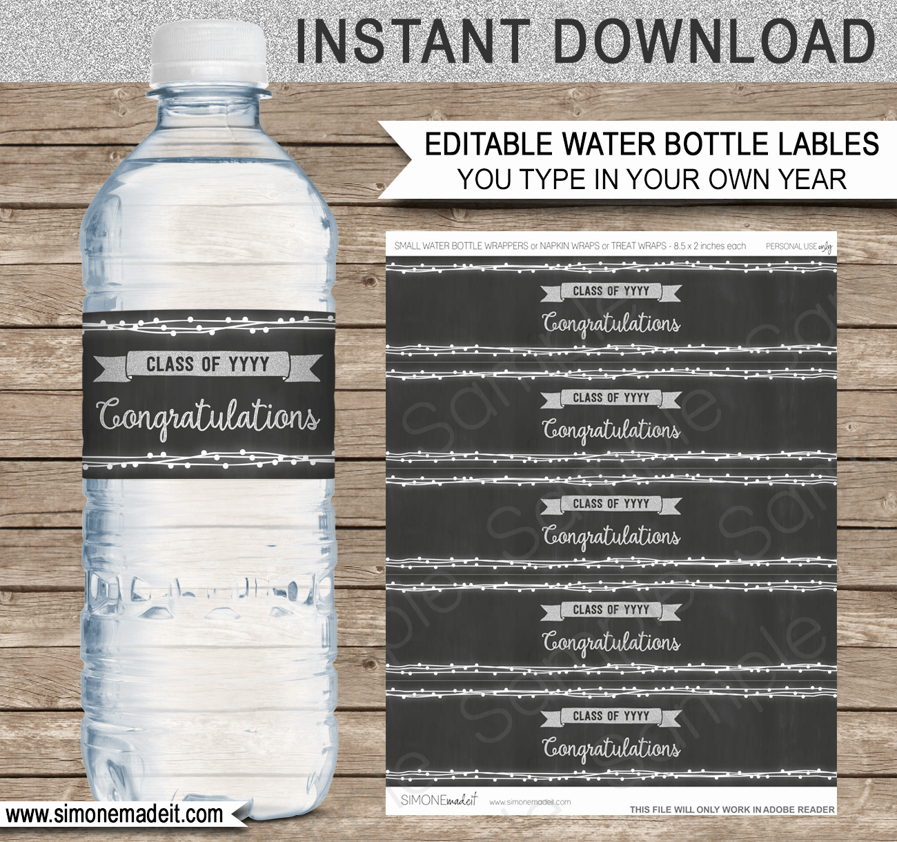 Water Bottle Wrapper Template New Editable Graduation Party Water Bottle Labels