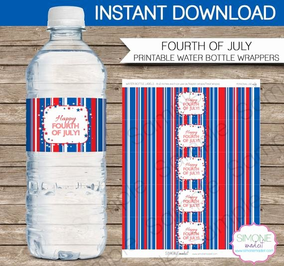 Water Bottle Wrapper Template New Fourth Of July Water Bottle Labels or Wrappers Instant