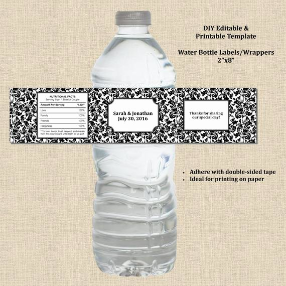 Water Bottle Wrapper Template Unique Wedding Water Bottle Label Wrapper 2x8 Black White Damask
