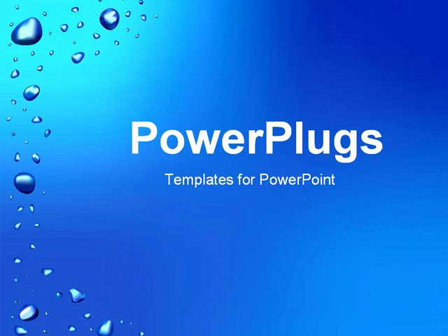 Water Power Point Template Elegant Blue Background with Waterdrops Powerpoint Template