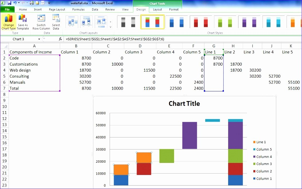 Waterfall Chart Excel Template Unique 12 Waterfall Template Excel 2010 Exceltemplates