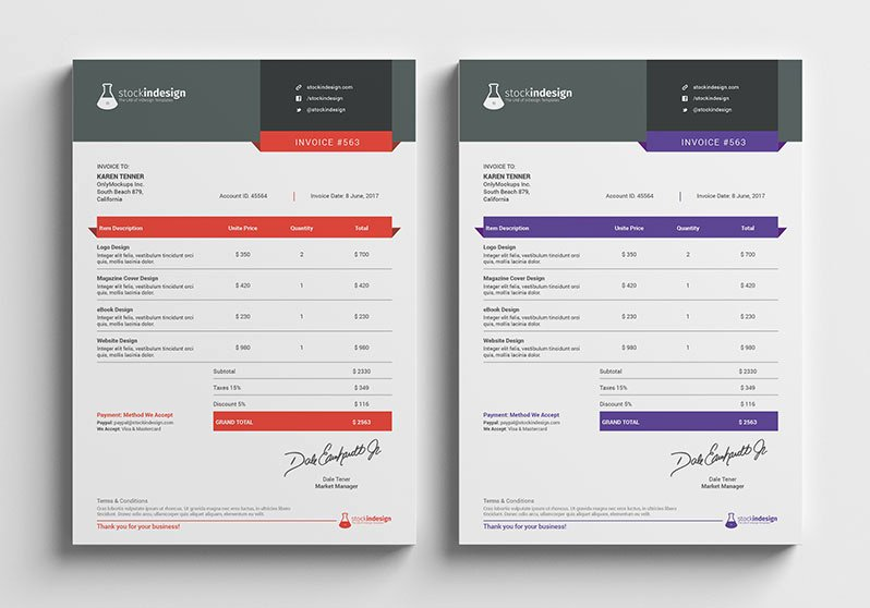 graphic design invoice template indesign