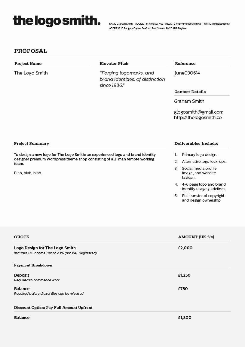 Web Design Quote Template Best Of Logo Design Proposal Invoice Template to Download