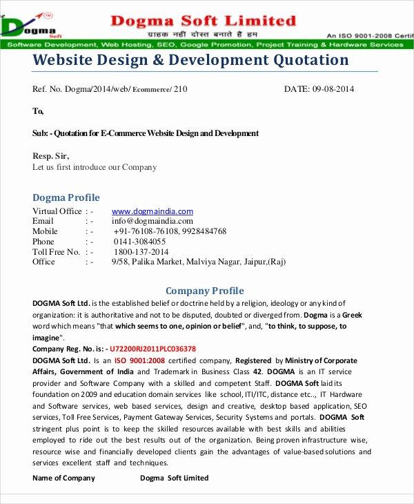 Web Design Quote Template Elegant 9 Website Quotation Templates Pdf
