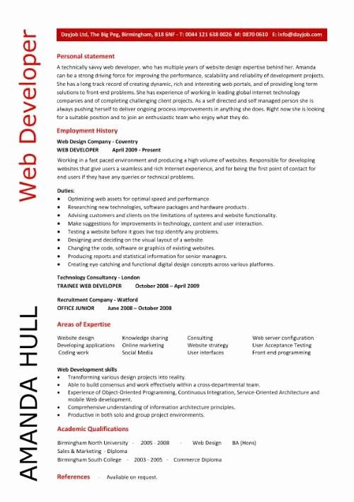 Web Developer Resume Template Elegant Web Developer Resume Resume Personal Statement