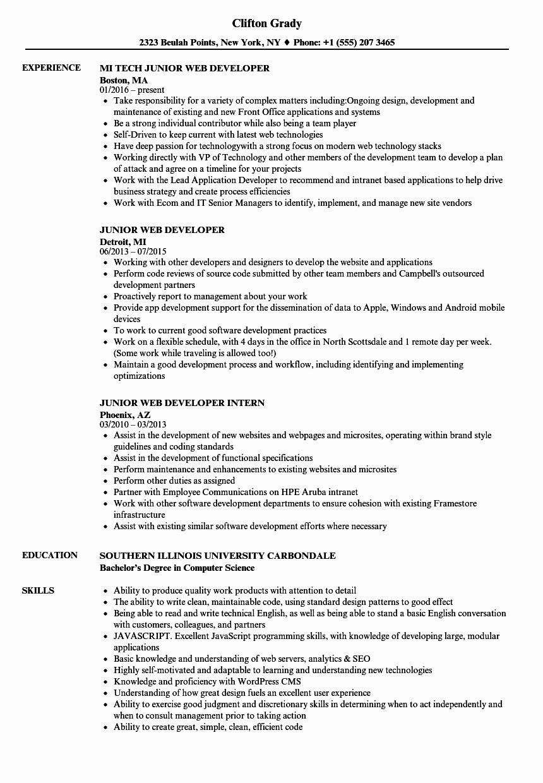 Web Developer Resume Template Inspirational Junior Web Developer Resume Samples