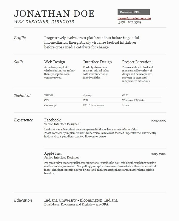 Web Developer Resume Template Inspirational Web Design Resume Template Best Resume Collection