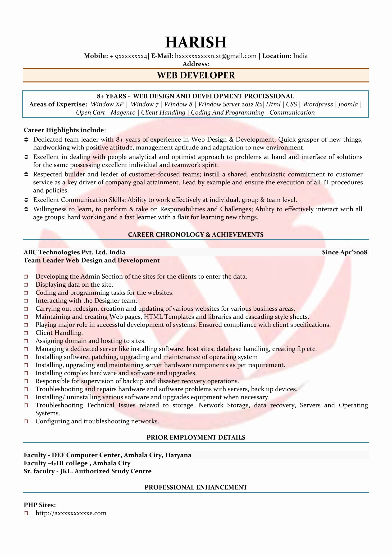 Web Developer Resume Template New Web Developer Sample Resumes Download Resume format