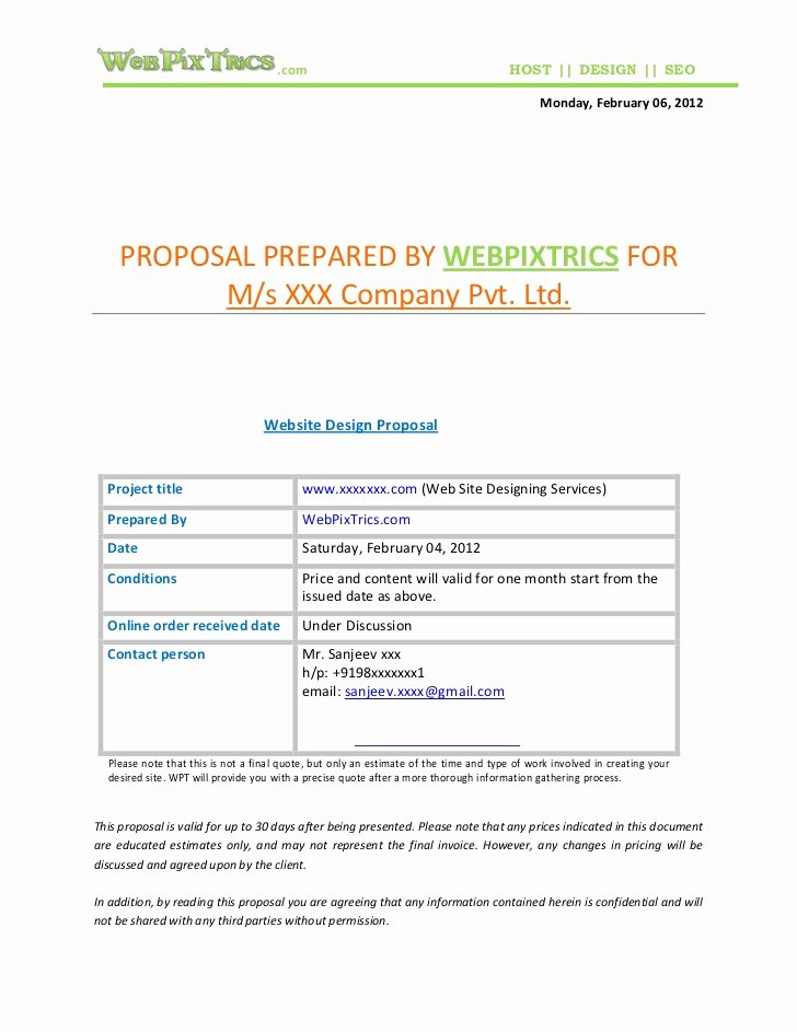 Web Development Proposal Template Inspirational Web Design Proposal Sample
