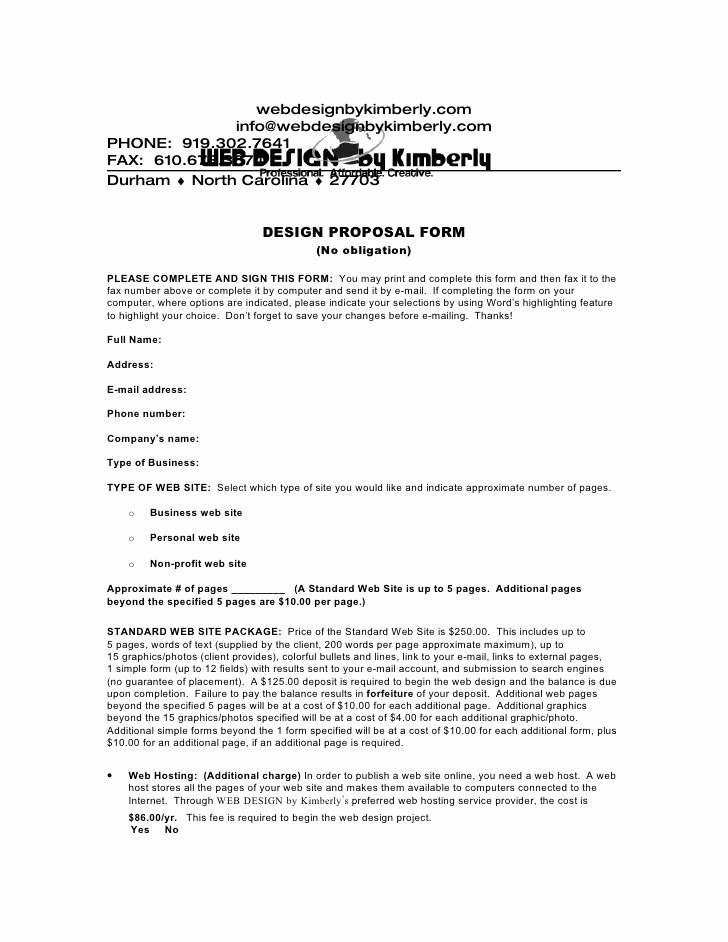 Web Development Proposal Template Unique Download A Web Design Proposal form