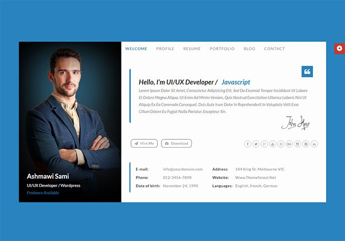 Web Page Template Word Luxury 20 Best Personal Vcard & Resume HTML Templates