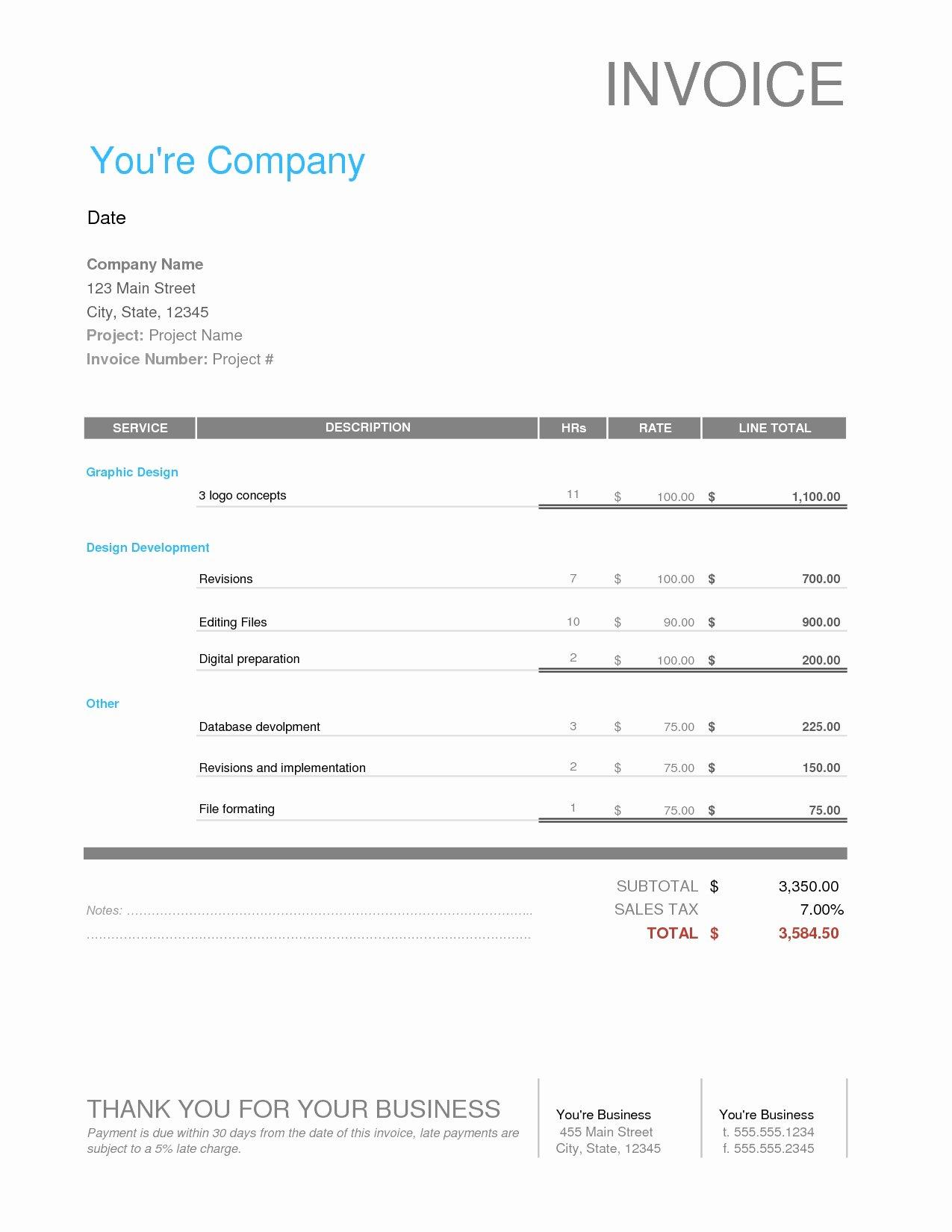Website Design Invoice Template Elegant Web Design Invoice Sample Invoice Template Ideas