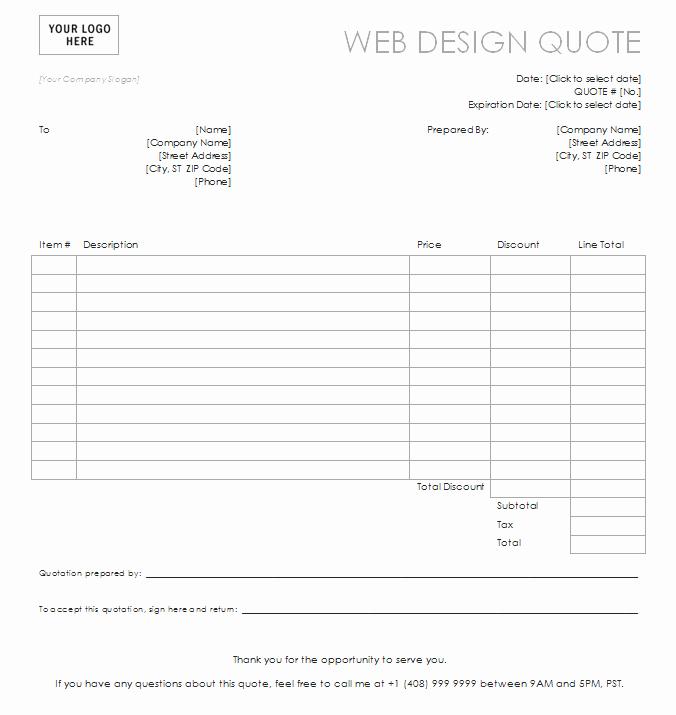 Website Design Quotation Template Elegant Design Quotation Template Templates Data
