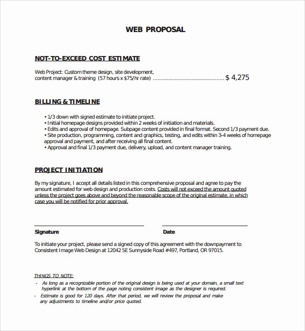 Website Development Proposal Template Lovely Sample Web Design Proposal Template 8 Free Documents In