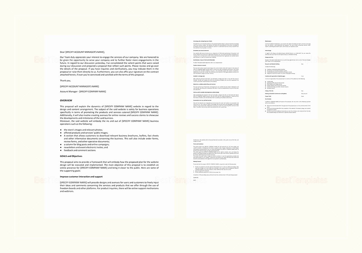 Website Proposal Template Word Unique Website Design Proposal Template In Word Google Docs