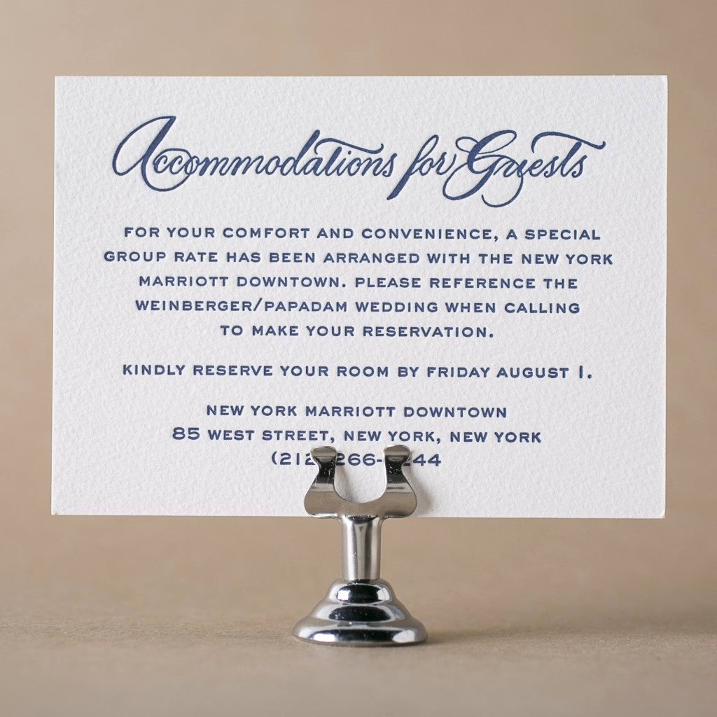 Wedding Accommodation Card Template Awesome Letterpress Direction and Ac Modation Cards From Bella