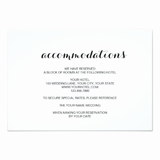 Wedding Accommodation Card Template Beautiful Simple Elegant Modern Wedding Ac Modation Card Au