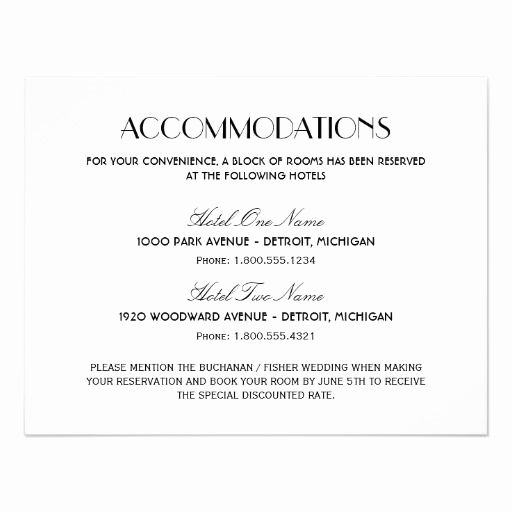 Wedding Accommodation Card Template Beautiful Wedding Ac Modation Card Art Deco Style
