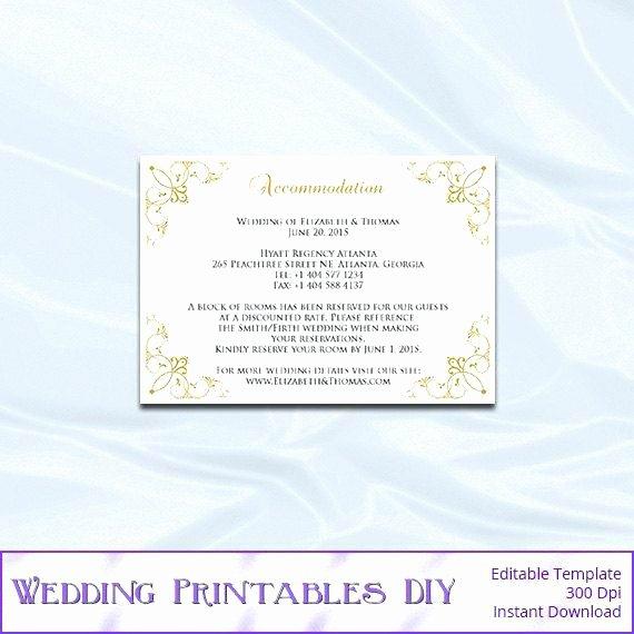 Wedding Accommodation Card Template Beautiful Wedding Ac Modation Card Template Free Blue Gray
