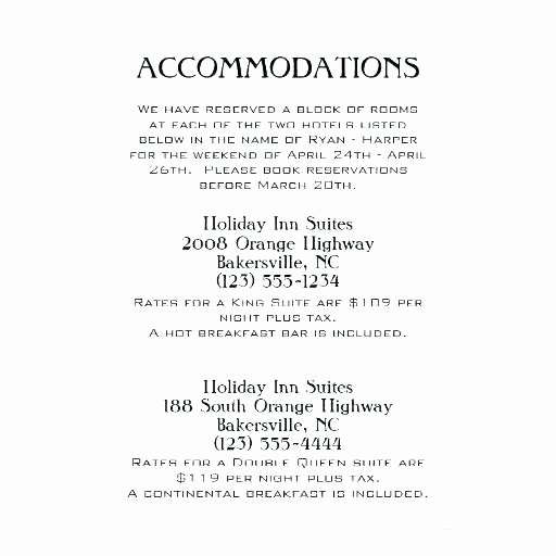 Wedding Accommodation Card Template Best Of Ac Modation Card Template