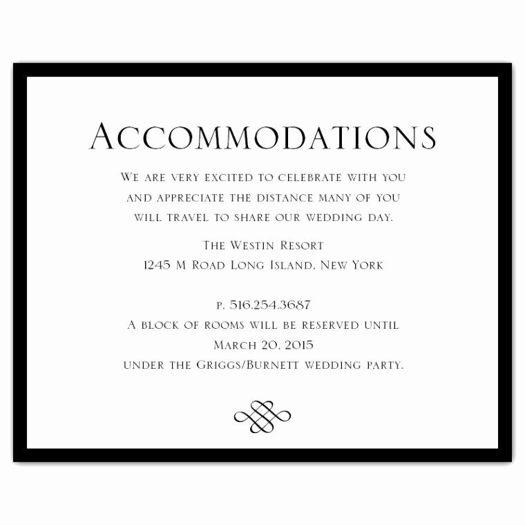 Wedding Accommodation Card Template Best Of Wedding Invitation Ac Modation Card Wording