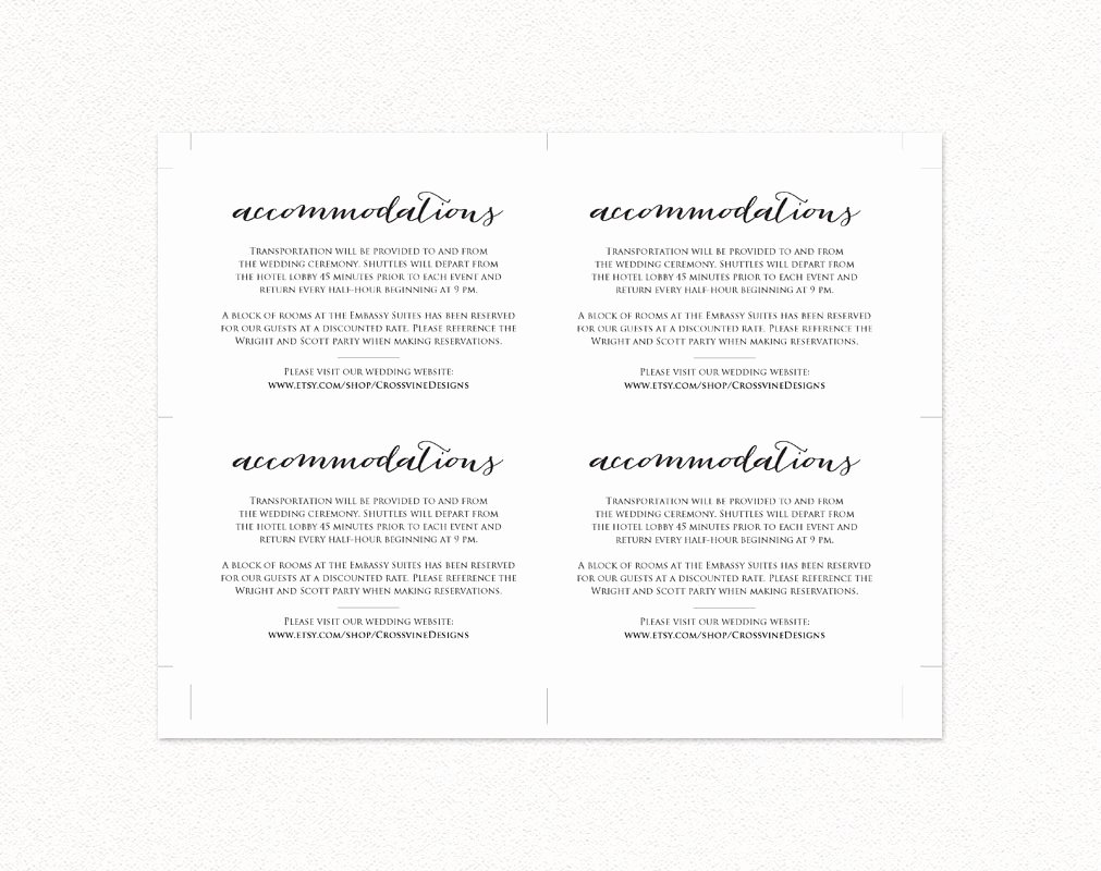Wedding Accommodation Card Template Elegant Wedding Ac Modations Card Insert Diy Wedding Templates