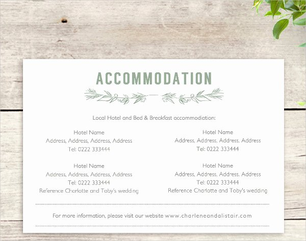 Wedding Accommodation Card Template Fresh 48 Sample Wedding Cards
