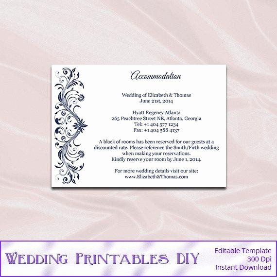 Wedding Accommodation Card Template Fresh Navy Wedding Enclosure Cards Template Diy Blue Hotel