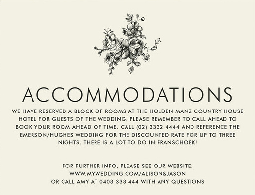Wedding Accommodation Card Template Lovely Wording to Use when Giving Out Room Block Information to