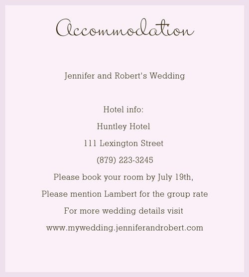 wedding details card examples