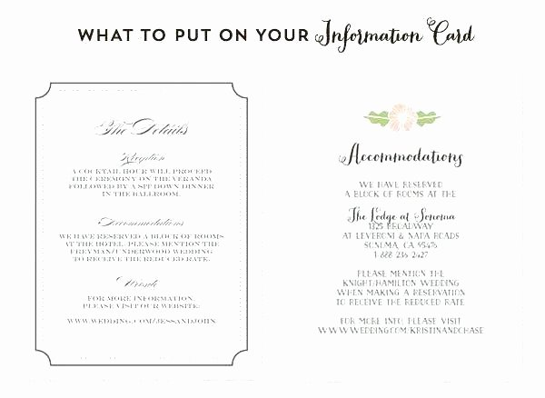 Wedding Accommodation Card Template New Wedding Information Card Template Ac Modations Hotel
