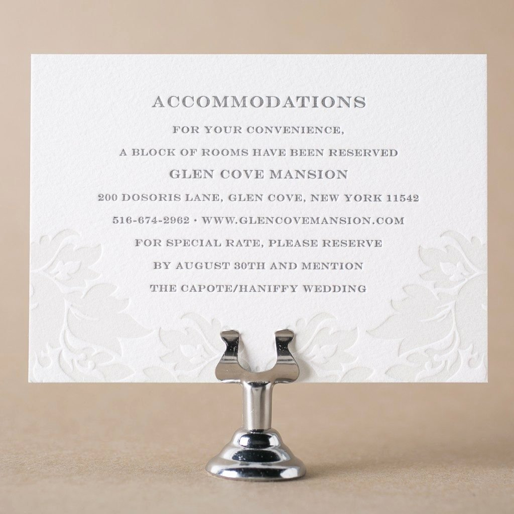 Wedding Accommodation Card Template Unique Letterpress Direction and Ac Modation Cards From Bella