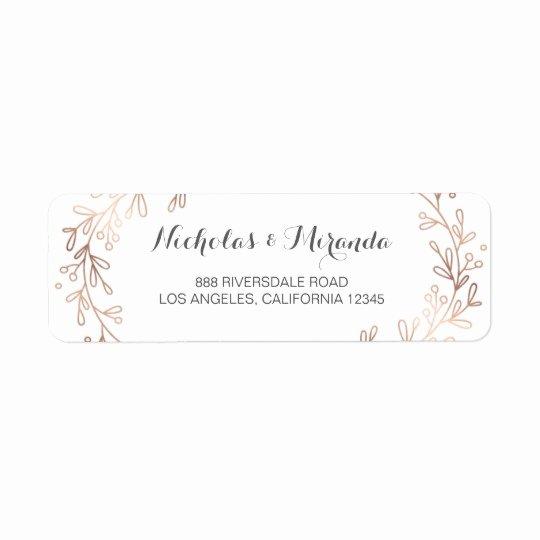 Wedding Address Label Template Awesome Wedding Return Address Labels Laurel Rose Gold Label