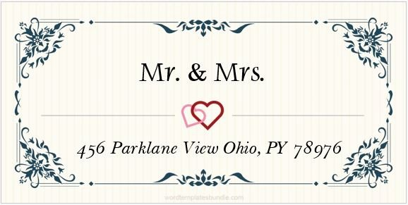 Wedding Address Label Template Elegant 6 Wedding Address Label Templates for Ms Word