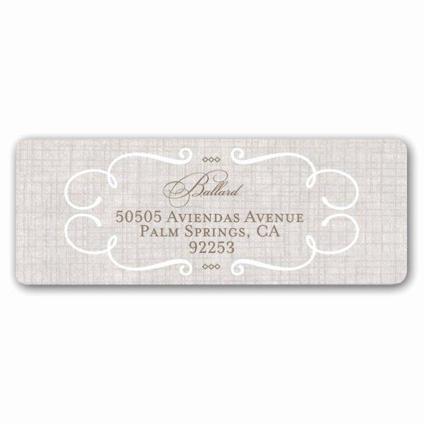 Wedding Address Label Template Elegant Lovely Linen Wedding Return Address Labels