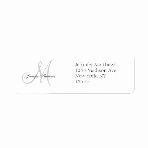 Wedding Address Label Template New Monogram Wedding Invitation Simple Address Labels