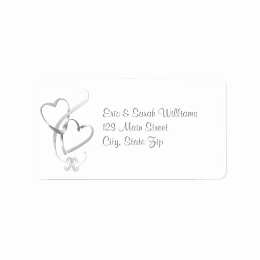 Wedding Address Labels Template Best Of Silver Hearts Wedding Address Labels