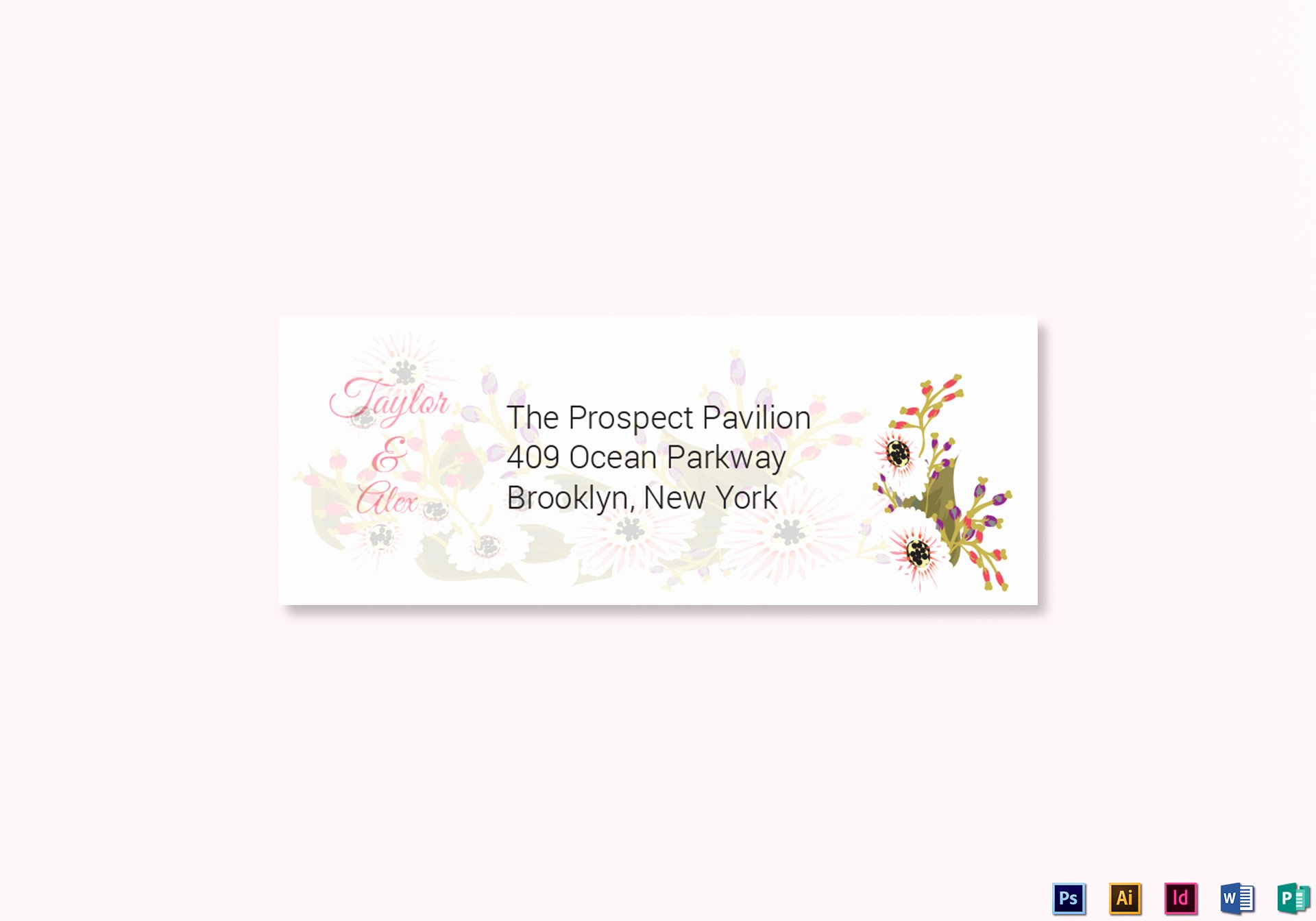 Wedding Address Labels Template Lovely Floral Wedding Address Labels Card Design Template In