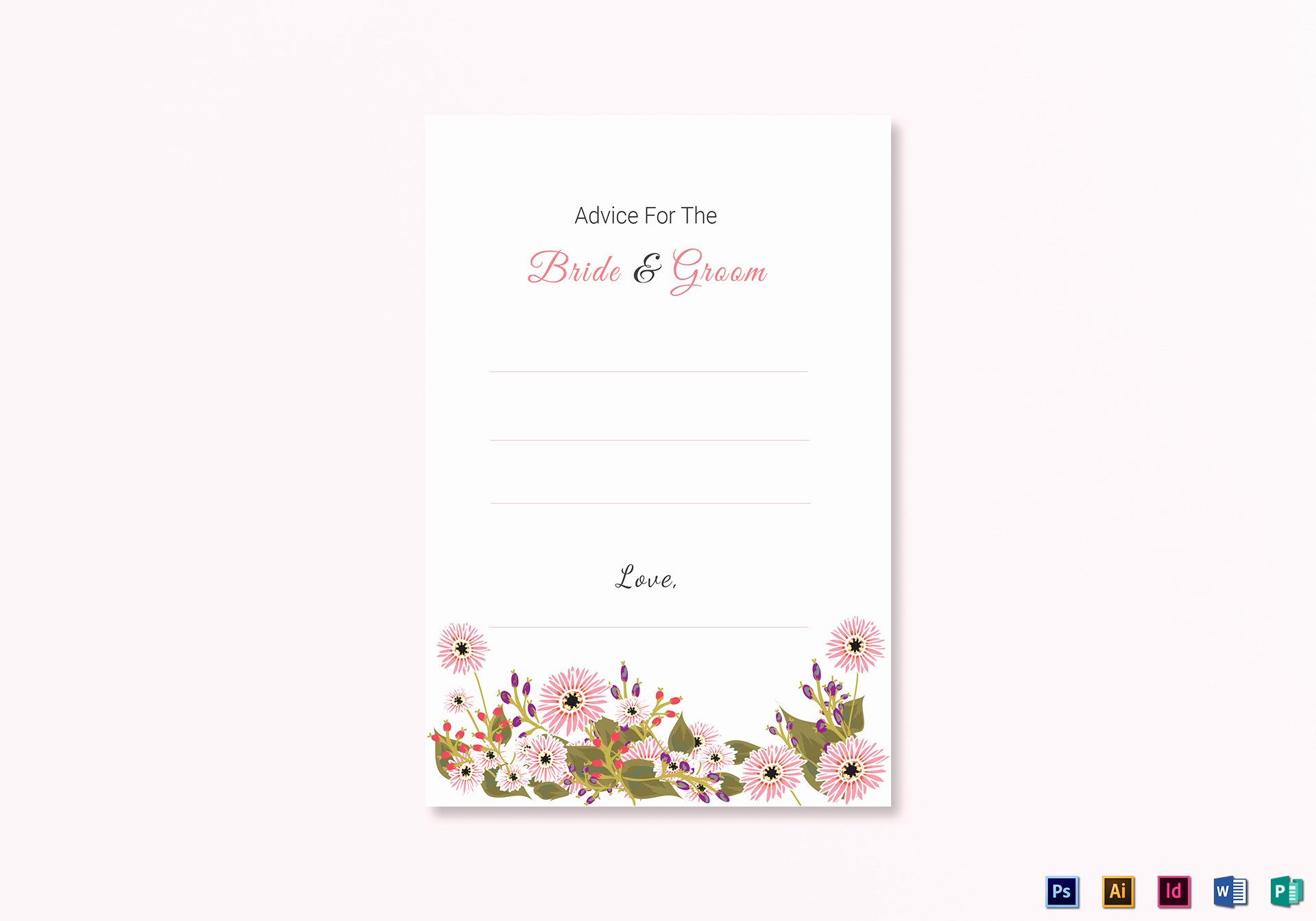 Wedding Advice Cards Template Beautiful Floral Wedding Advice Card Design Template In Illustrator