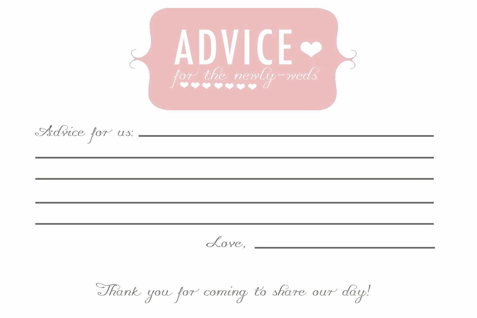Wedding Advice Cards Template Elegant Did Anyone Do Advice Cards Prediction Cards for Guests