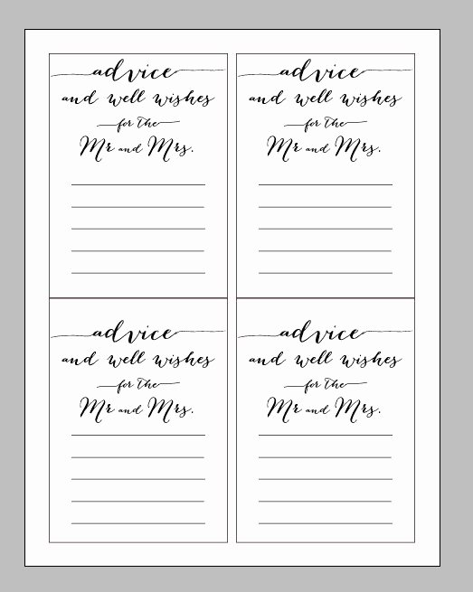 Wedding Advice Cards Template Inspirational Printable Digital Wedding Advice Card Wisdom and Wishes