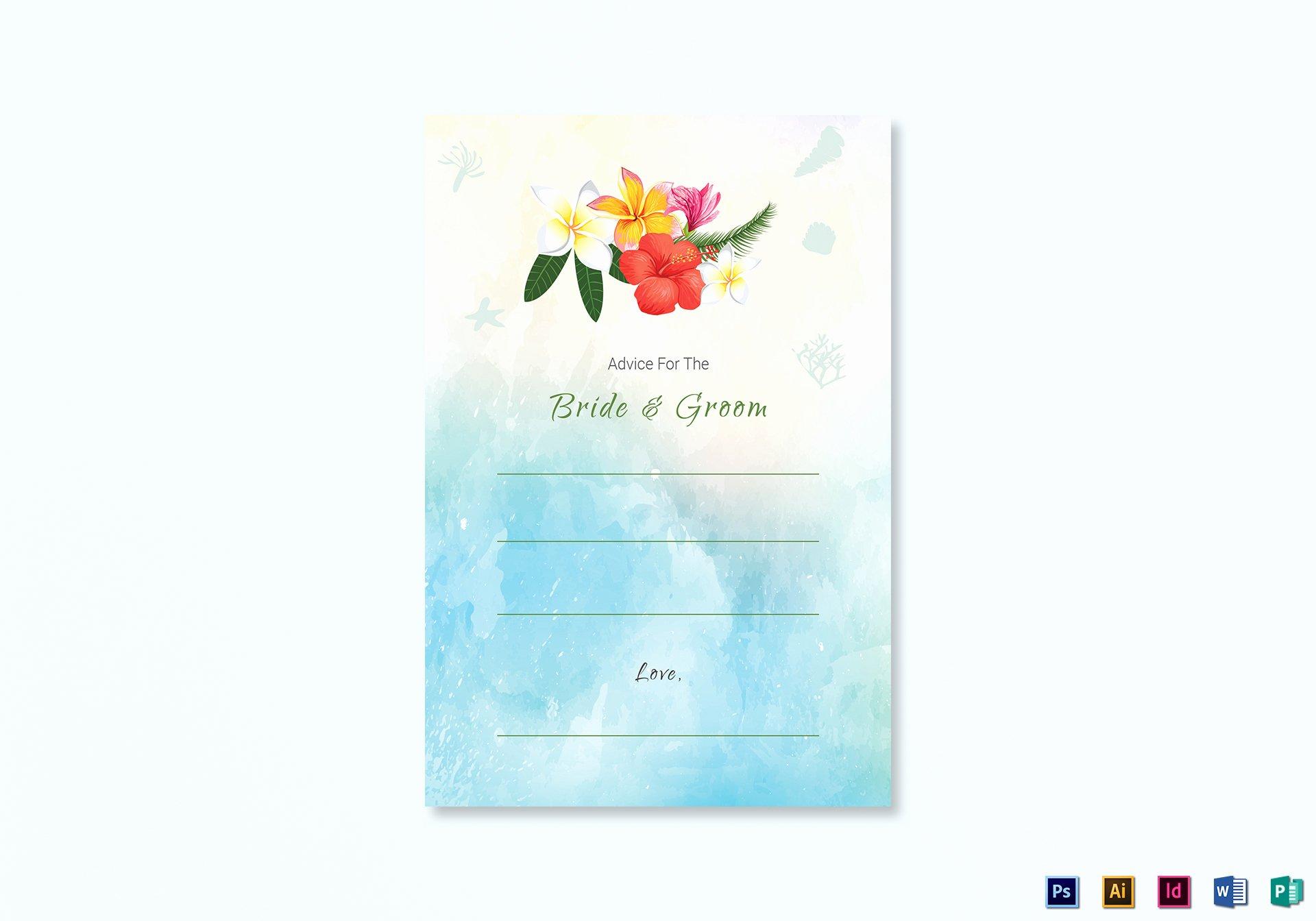 Wedding Advice Cards Template Luxury Beach Wedding Advice Card Template In Psd Word Publisher