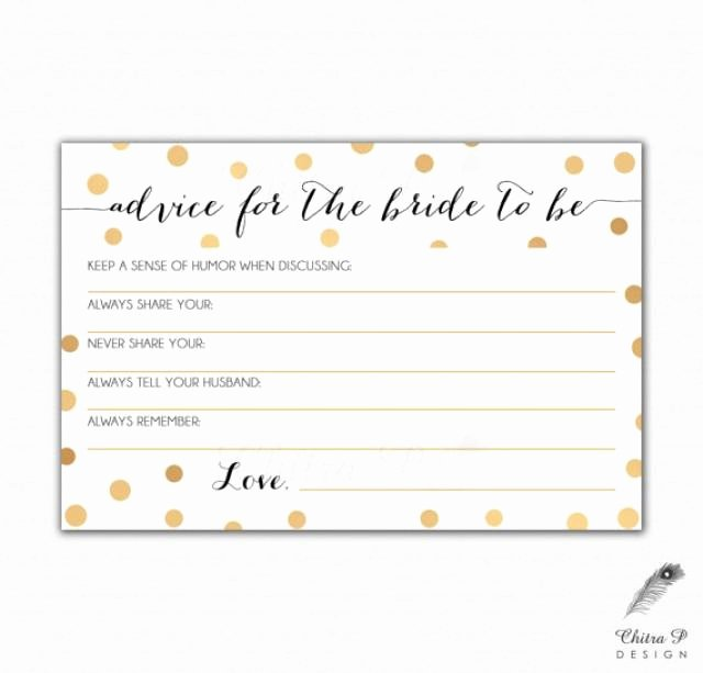 Wedding Advice Cards Template Luxury Gold & Black Bridal Advice Card Printed Printable