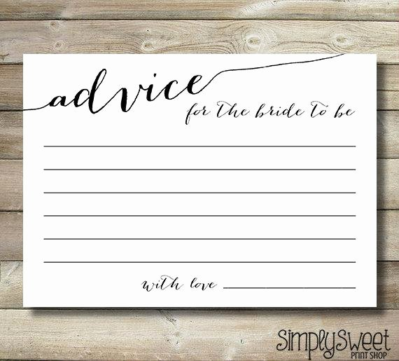 Wedding Advice Cards Template Unique Bridal Shower Advice Cards for the Bride by