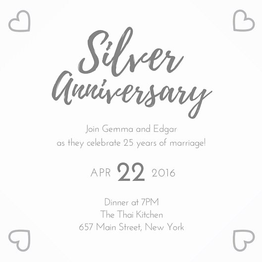 Wedding Anniversary Invitation Template Beautiful Silver 25th Wedding Anniversary Invitation Templates by